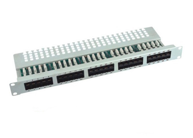 25 / 50 Port Voice Patch Panel 6P4C 110 IDC / Krone IDC With CAT 3 Modules