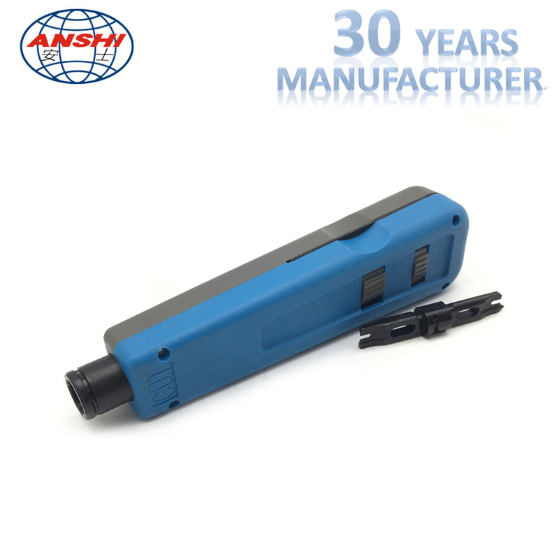 ANSHI Impact And Punch Down Tool For 110 Wiring Block Rack Mount Blue Color