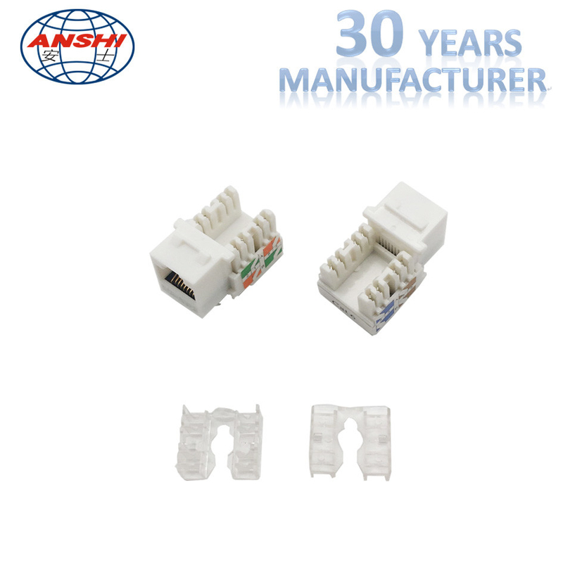 100% Pass Fluck Test ANSHI RJ45 CAT6 Keystone Jack 90 Degree UTP Connection With Dust Cover
